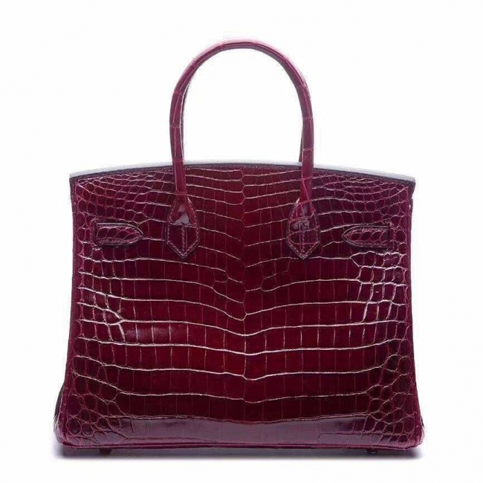 Designer Alligator Handbag-Burgundy-Back