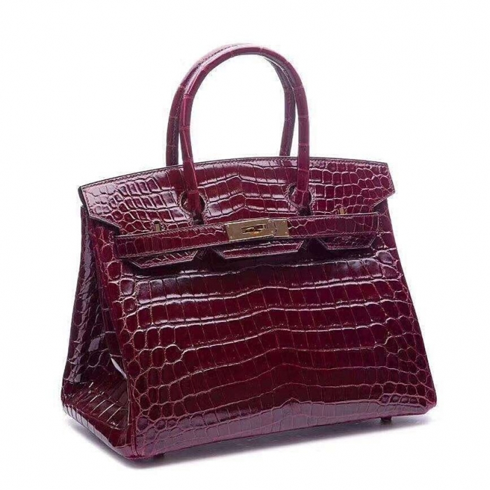Designer Alligator Handbag-Burgundy-Micro Side