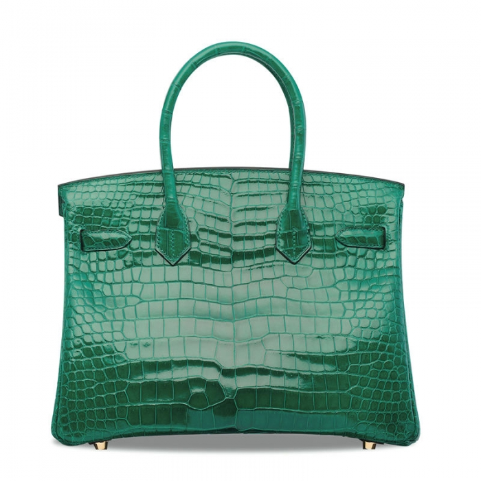 Designer Alligator Handbag-Green-Back