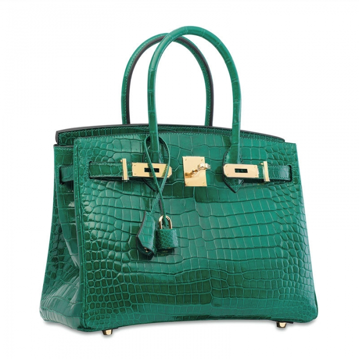 Designer Alligator Handbag-Green-Side
