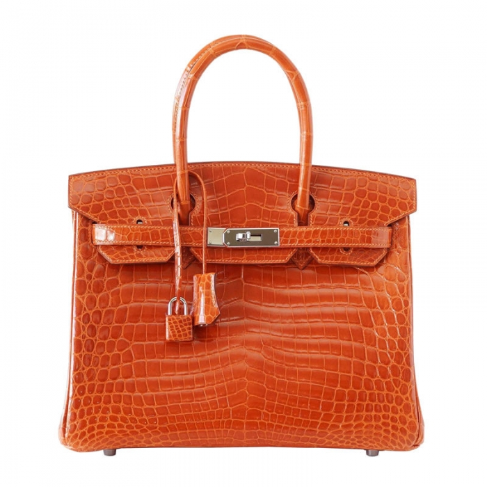 Designer Alligator Handbag-OrangeDesigner Alligator Handbag-Orange