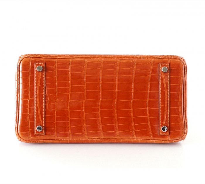 Designer Alligator Handbag-Orange-Bottom