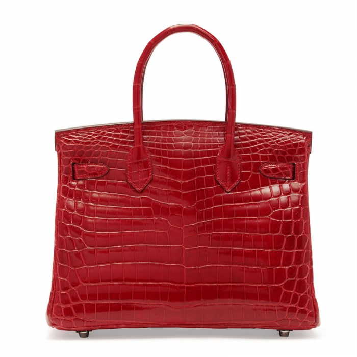 Designer Alligator Handbag-Red-Back