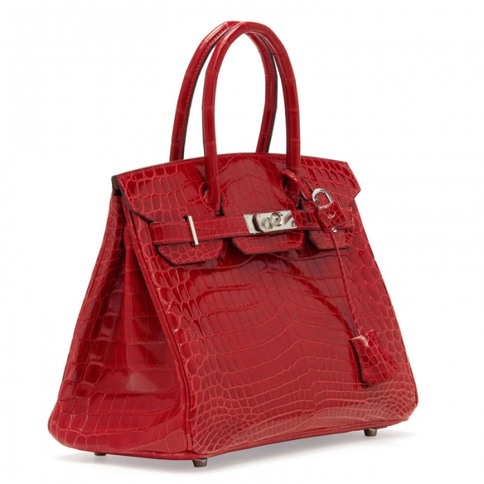Designer Alligator Handbag-Red-Side