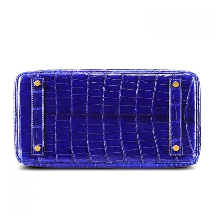 Designer Alligator Handbag-Royal Blue-Bottom