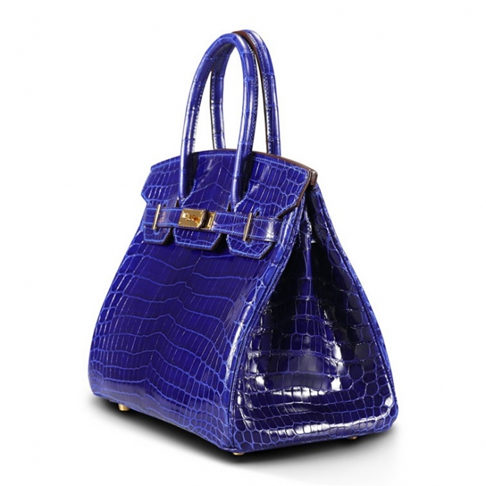 Designer Alligator Handbag-Royal Blue-Side