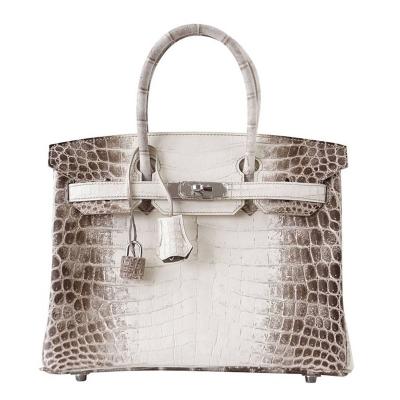 Designer Alligator Handbag-White