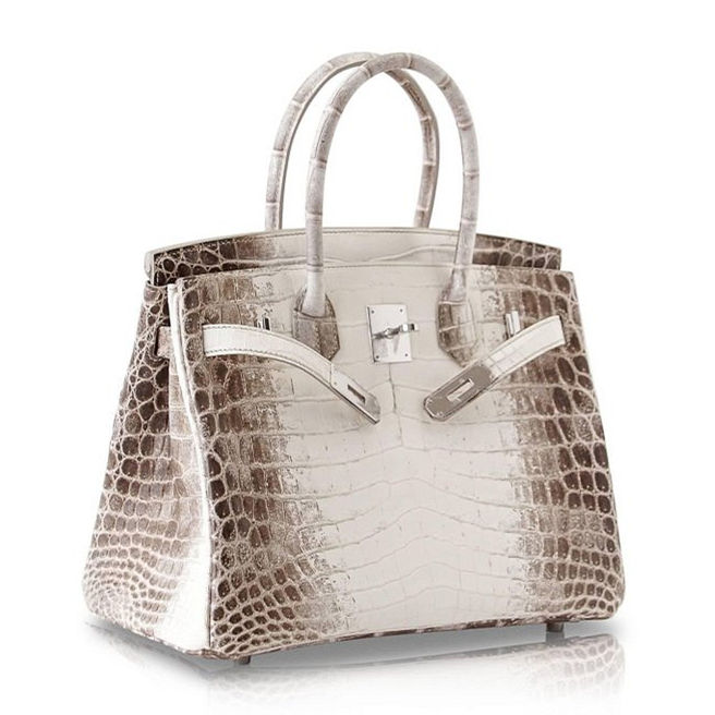 Designer Alligator Handbag-White-Side