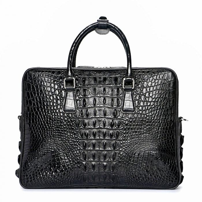 Mens Crocodile Leather Briefcase Laptop Bag-Back