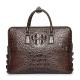 Mens Crocodile Leather Briefcase Laptop Bag-Brown