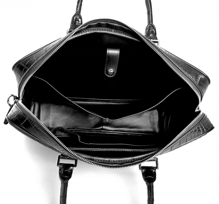 Mens Crocodile Leather Briefcase Laptop Bag-Inside