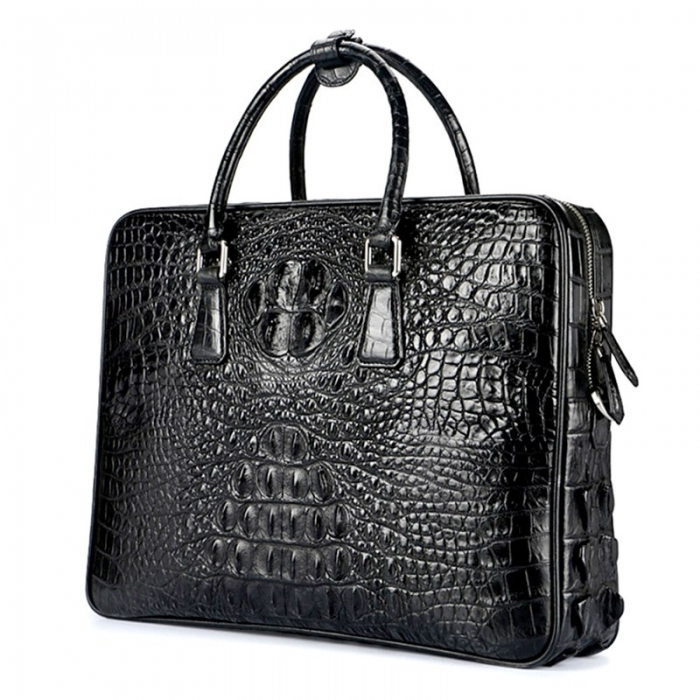 Mens Crocodile Leather Briefcase Laptop Bag-Micro Side