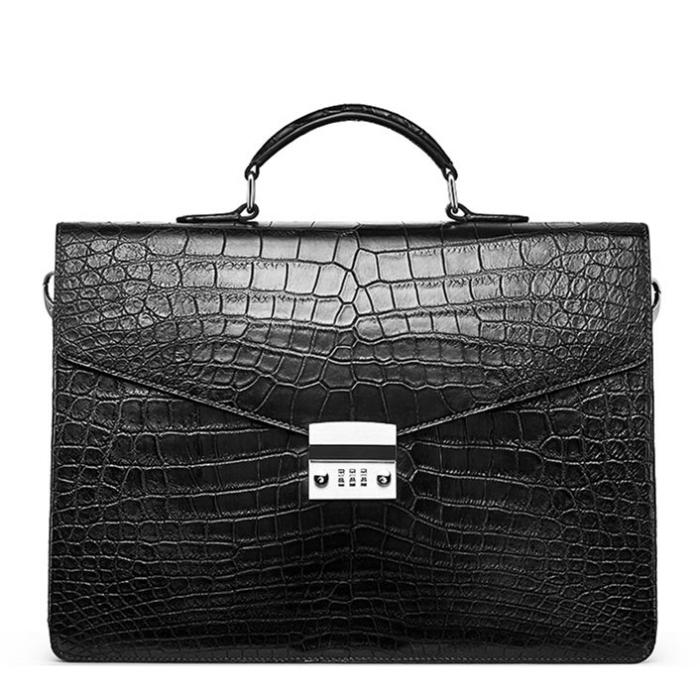 Mens Genuine Alligator Briefcase, Luxury Alligator Business Bag