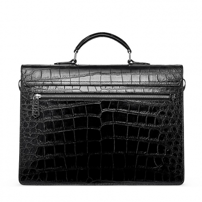 Mens Genuine Alligator Briefcase, Luxury Alligator Business Bag-BackMens Genuine Alligator Briefcase, Luxury Alligator Business Bag-Back