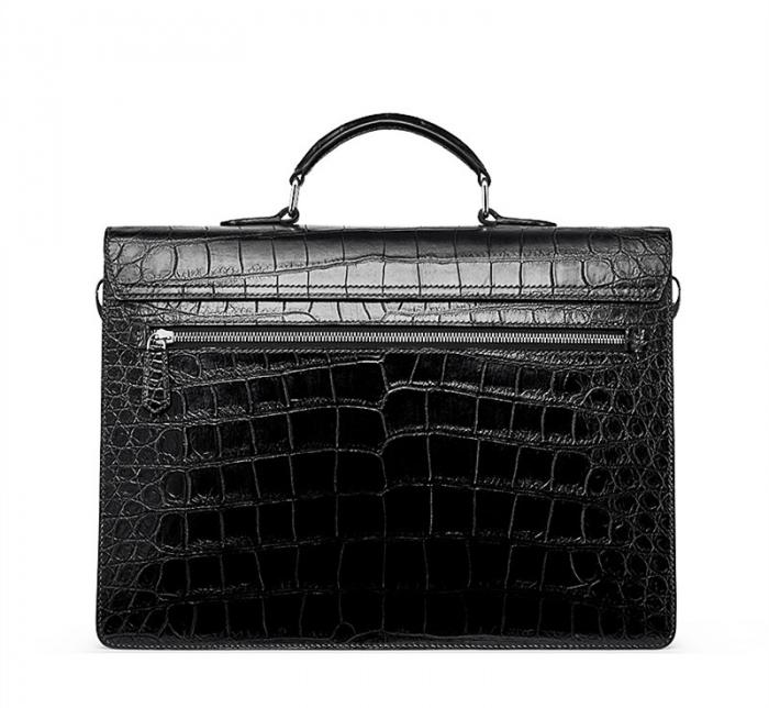 Mens Genuine Alligator Briefcase, Luxury Alligator Business Bag-BackMens Genuine Alligator Briefcase, Luxury Alligator Business Bag-Back