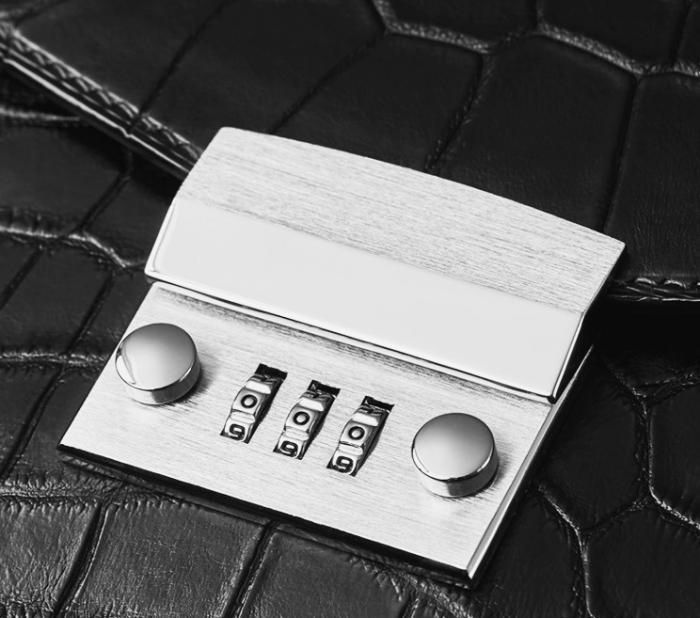 Mens Genuine Alligator Briefcase, Luxury Alligator Business Bag-Details