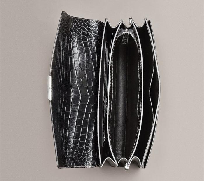 Mens Genuine Alligator Briefcase, Luxury Alligator Business Bag-Inside