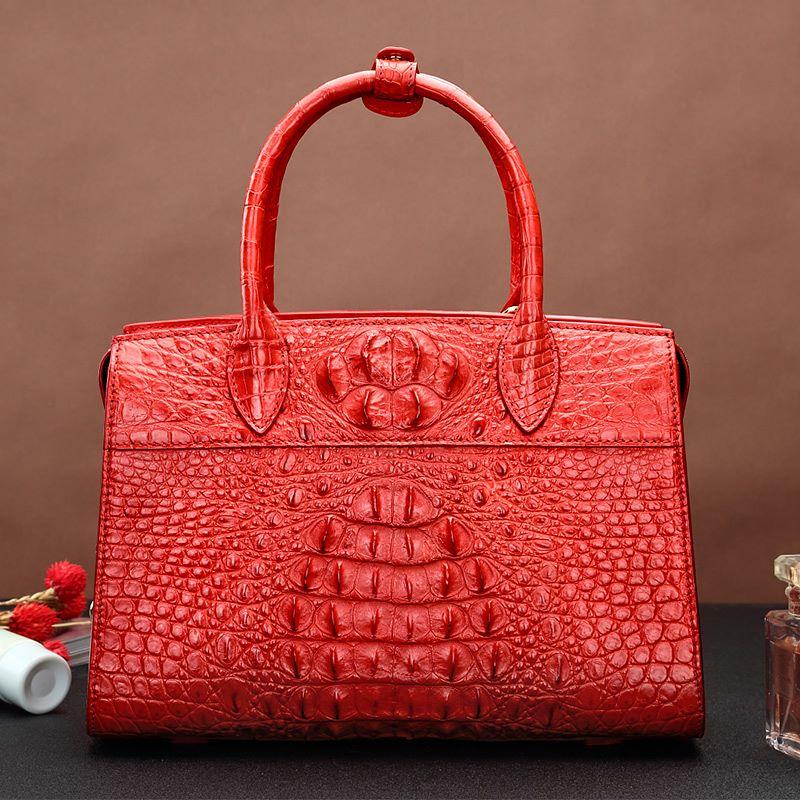 Red Crocodile Leather Bag