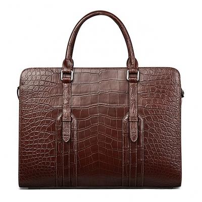 Slim Alligator Leather Briefcase Shoulder Laptop Business Bag-Brown