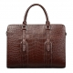 Slim Alligator Leather Briefcase Shoulder Laptop Business Bag-Brown