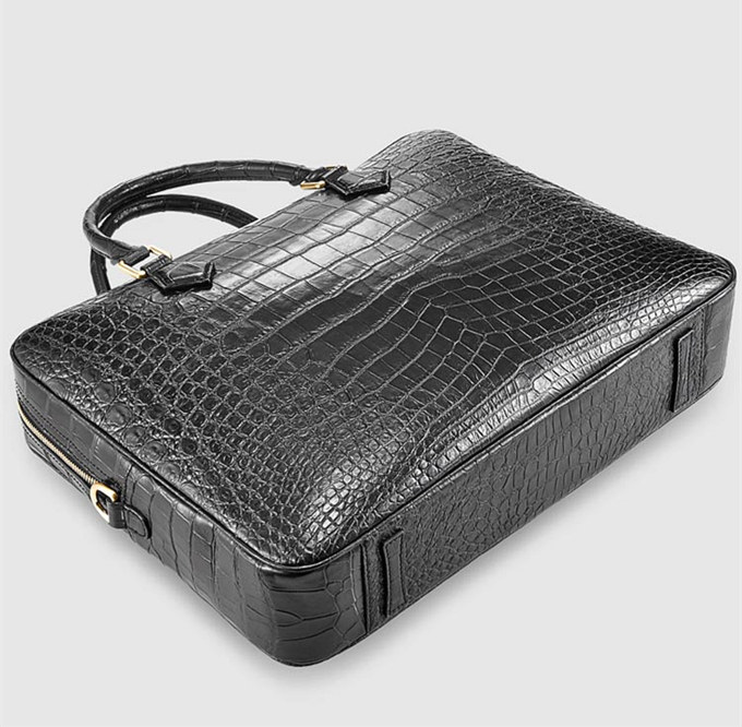 Stylish Alligator Briefcase Business Office Bag for Men-Bottom