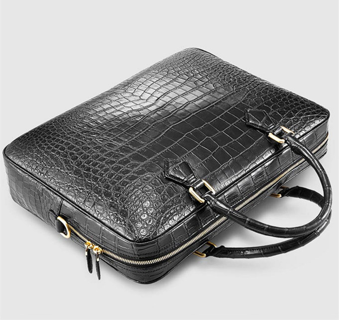 Stylish Alligator Briefcase Business Office Bag for Men-Handle