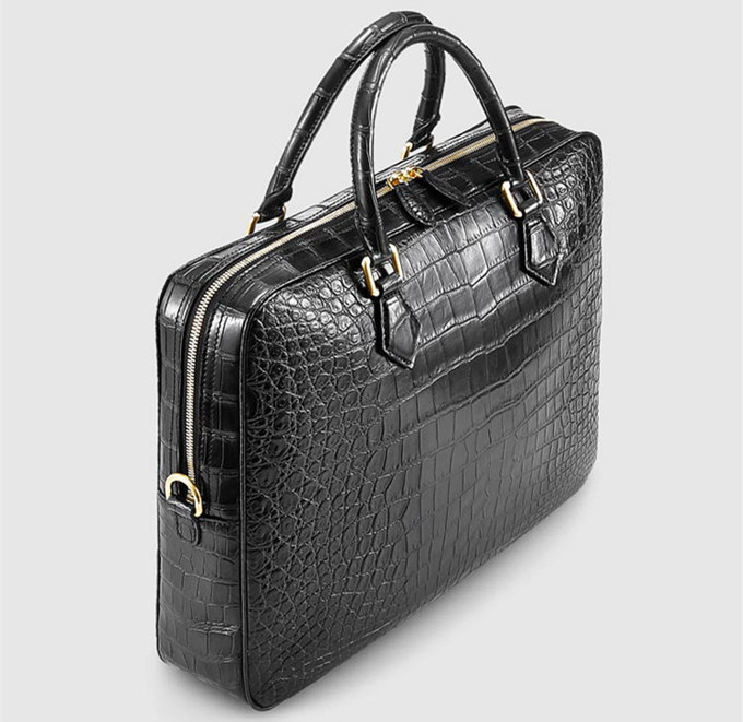 Stylish Alligator Briefcase Business Office Bag for Men-Micro Side