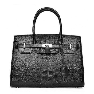 Womens Crocodile Handbags Top Handle Padlock Bags-Black
