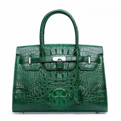 Womens Crocodile Handbags Top Handle Padlock Bags-Green