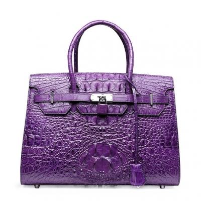 Womens Crocodile Handbags Top Handle Padlock Bags-Purple