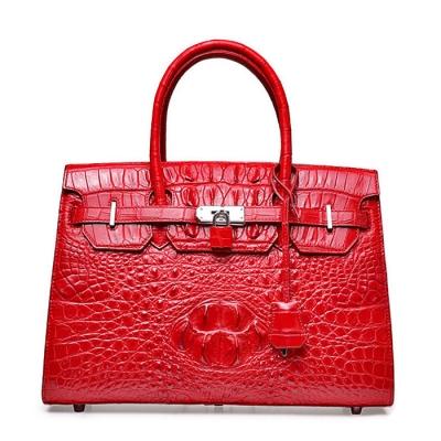 Womens Crocodile Handbags Top Handle Padlock Bags-Red