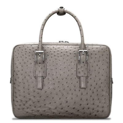 Designer Ostrich Leather Business Work Briefcase Laptop Bag