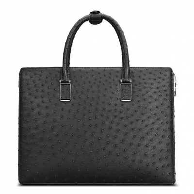 Formal Ostrich Leather Briefcase Laptop Business Bag for Men