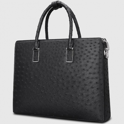Formal Ostrich Leather Briefcase Laptop Business Bag for Men-Micro Side