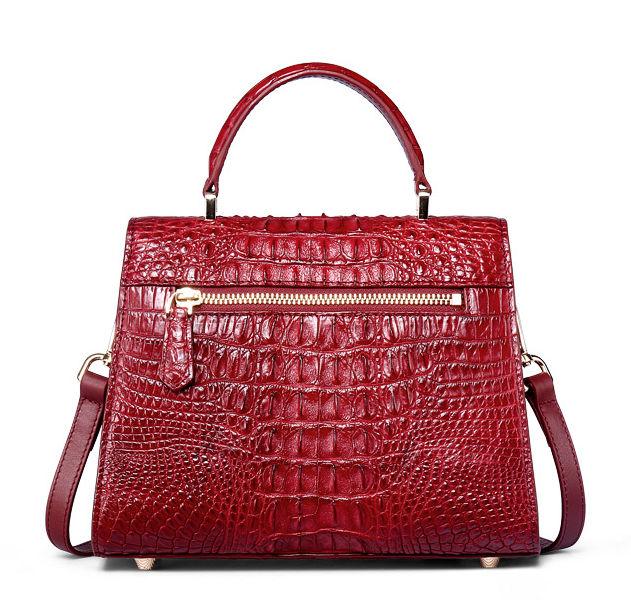 Ladies Designer Crocodile Handbag Shoulder Bag-Back