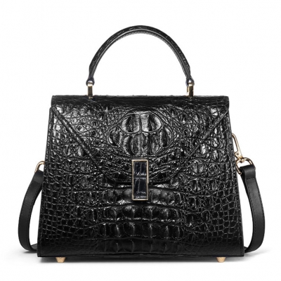 Ladies Designer Crocodile Handbag Shoulder Bag-Black
