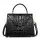 Ladies Designer Crocodile Handbag Shoulder Bag-Black