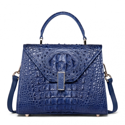 Ladies Designer Crocodile Handbag Shoulder Bag-Blue
