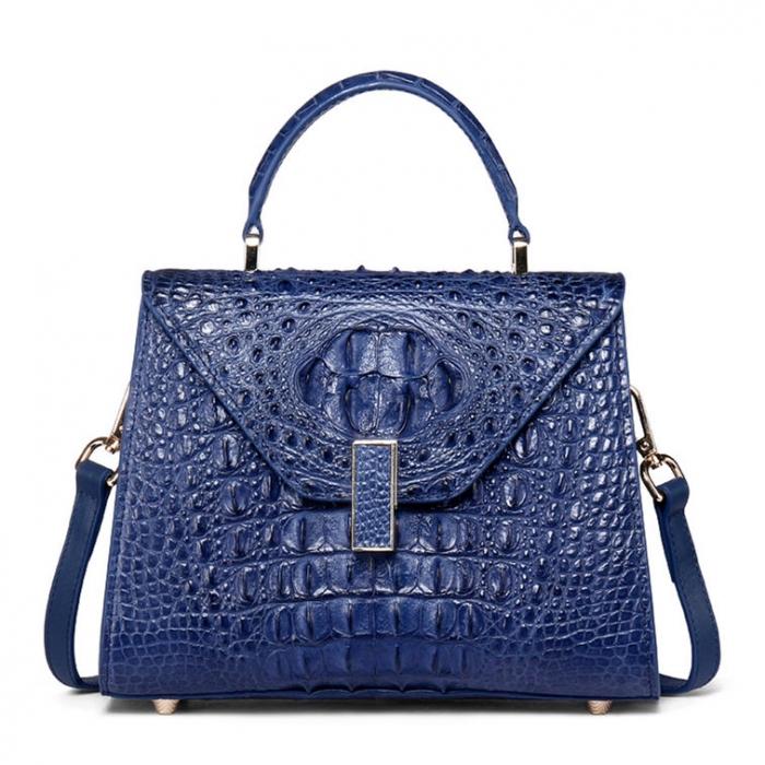 Ladies Designer Crocodile Handbag Shoulder Bag-Blue