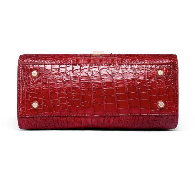 Ladies Designer Crocodile Handbag Shoulder Bag-Bottom