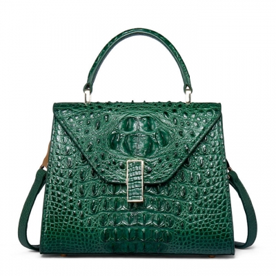 Ladies Designer Crocodile Handbag Shoulder Bag-Green