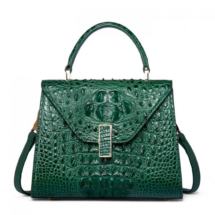 Ladies Designer Crocodile Handbag Shoulder Bag-Green