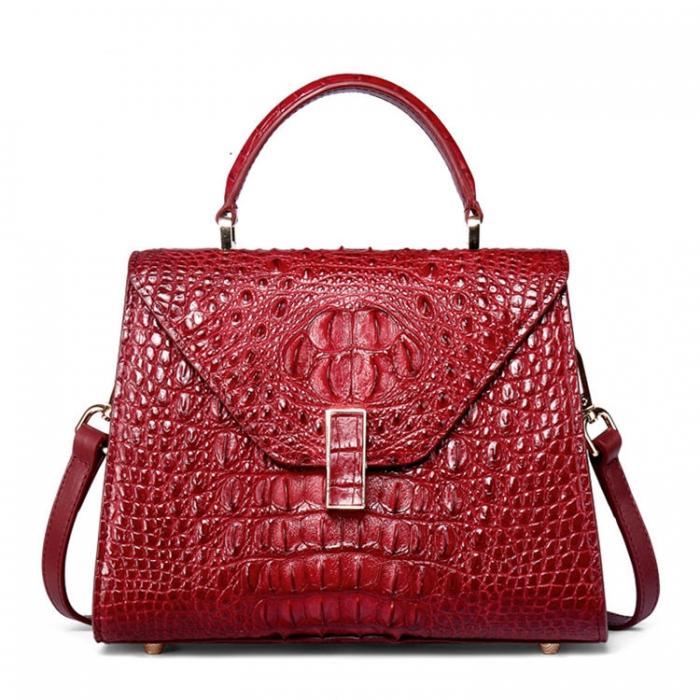 Ladies Designer Crocodile Handbag Shoulder Bag-Red