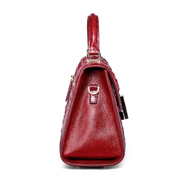 Ladies Designer Crocodile Handbag Shoulder Bag-Side