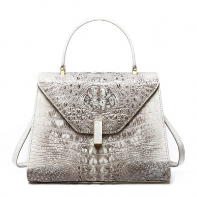 Ladies Designer Crocodile Handbag Shoulder Bag-White