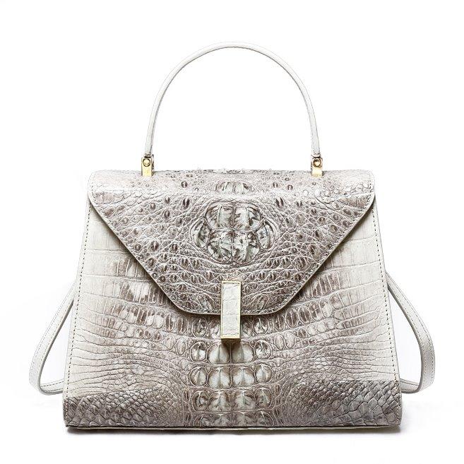 Ladies Designer Crocodile Handbag Shoulder Bag-White