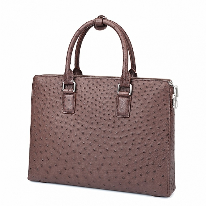 Ostrich Leather Briefcase Laptop Business Bag-Brown