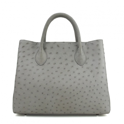 Ostrich Leather Tote Bag Top Handle Shoulder Bag-Gray