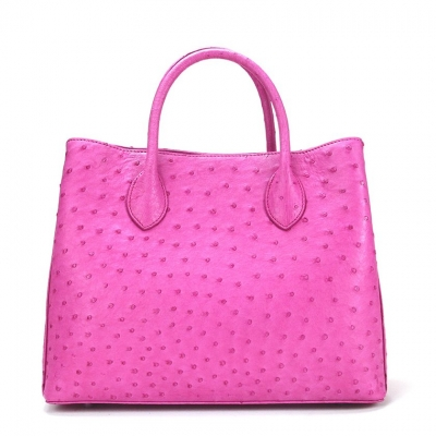 Ostrich Leather Tote Bag Top Handle Shoulder Bag-Pink