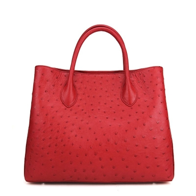 Ostrich Leather Tote Bag Top Handle Shoulder Bag-Red